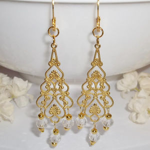 Earring Chandelier Statement Gold & Clear Set 4505